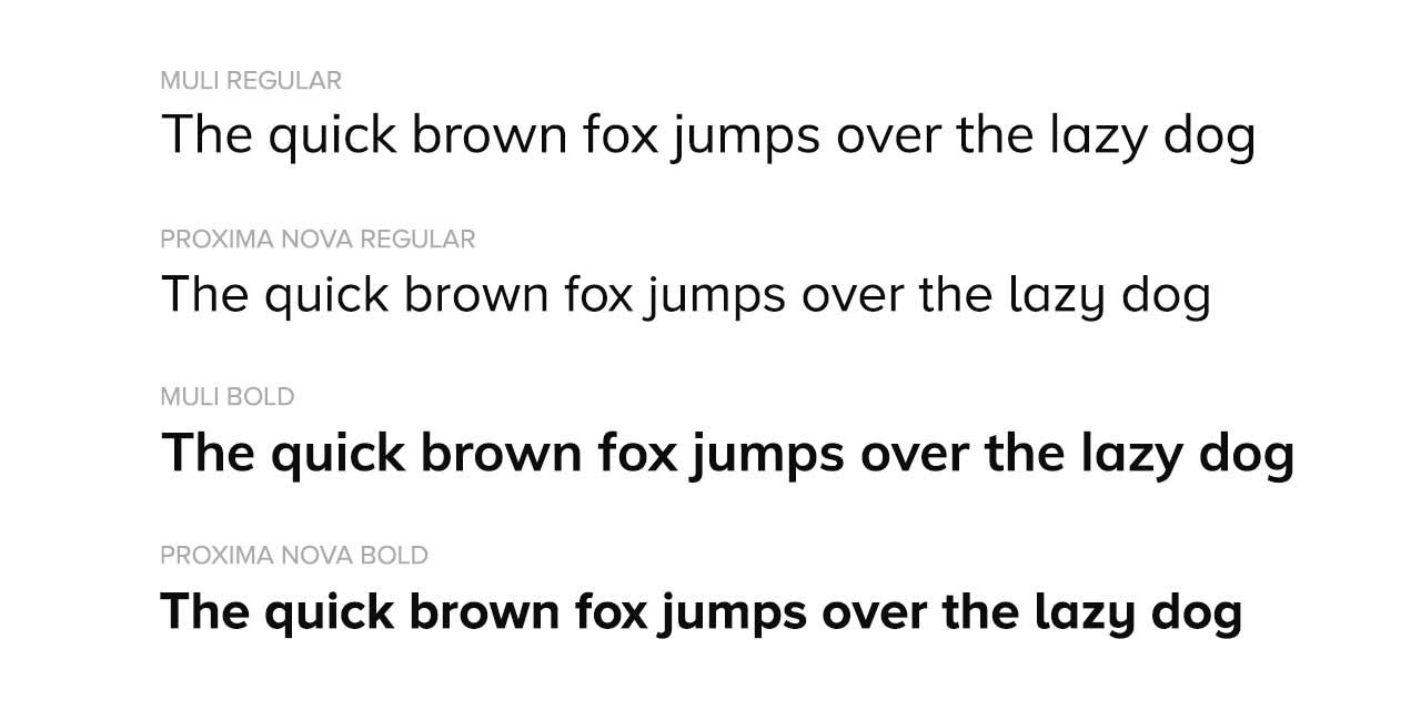 Google Fonts Muli Comparison