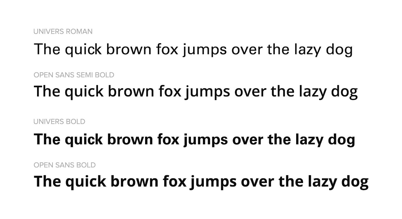 Univers Comparison with Open Sans